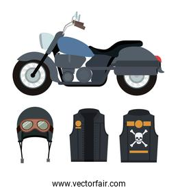 classic blue motorcycle with jacket and helmet with symbol of skull and bones in white background