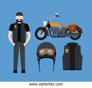 motorcyclist and classic yellow motorcycle with jacket and helmet in blue background