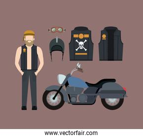 blond motorcyclist and classic blue motorcycle with jacket and helmet in rosy brown background