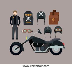 motorcyclist and classic black motorcycle with jacket and leather bag and helmet glasses in thistle color background