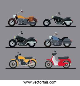 colorful motorcycles set with several models in gray background