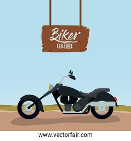 biker culture poster with classic motorcycle with long telescopic forks and black fuel tank