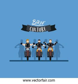 biker culture poster with motorcyclists gang in blue background