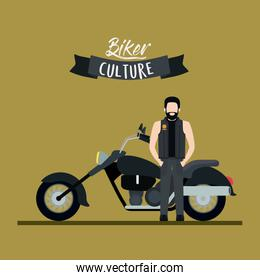biker culture poster with man and classic motorcycle with long telescopic fork and black fuel tank and olive color background