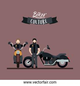 biker culture poster with pair men in classic motorcycles and rosy brown color background