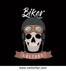 biker culture poster with skull with helmet and glasses of motorcyclist in black background