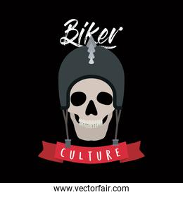 biker culture poster with skull with helmet of motorcyclist in black background