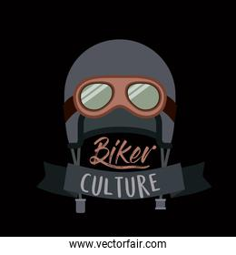 biker culture poster with helmet and glasses of motorcyclist in black background