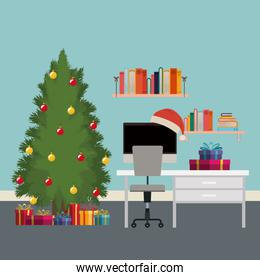 christmas scene office desk with tree and gifts