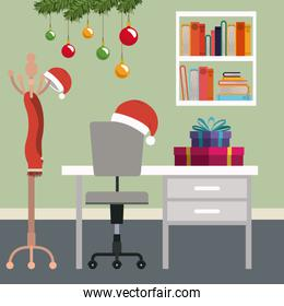 christmas workplace scene with christmas decoration and gifts
