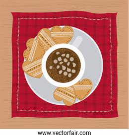christmas napkin with dish and cookies shape of heart and cup of chocolate