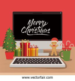 merry christmas poster with desktop computer scene in front view with christmas decoration