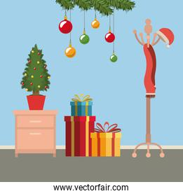 christmas scene with file cabinet and small christmas tree in pot and gifts