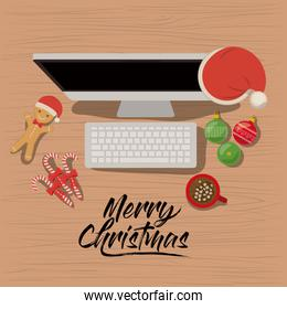 merry christmas poster with desktop computer scene in top view with christmas decoration and candies and cookies and chocolate cup