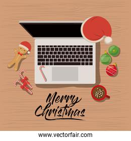merry christmas poster with laptop computer scene in top view with christmas decoration and candies and cookies and chocolate cup