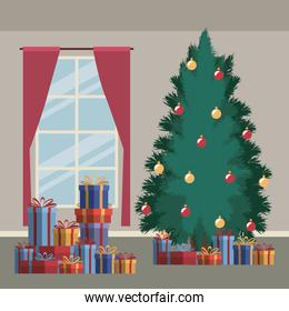 christmas home scene with window background and big christmas tree and gifts