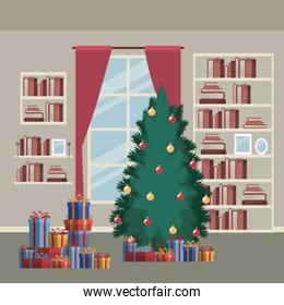 christmas home scene with window background and bookshelf of books and christmas tree and gifts