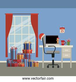 christmas home scene with window background and office workplace with laptop and gifts