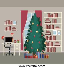 christmas home scene with window background and bookshelf of books with big christmas tree and gifts and office desktop with laptop
