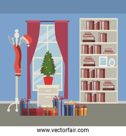 christmas home scene with window background and bookshelf of books with small christmas tree in pot over table and gifts