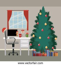 christmas scene with window background and office desktop with desktop computer and big christmas tree with gifts