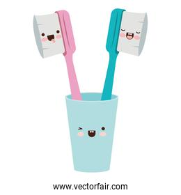 glass with male and female toothbrush kawaii in colorful silhouette