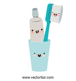glass with toothpaste and toothbrush male kawaii in colorful silhouette