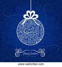 Christmas ball hanging on with arabesques vector illustration