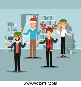men group and woman in formal clothes celebrating christmas with champagne and all with christmas hats and one man with scarf and reindeer horns christmas hat on colorful scene in home
