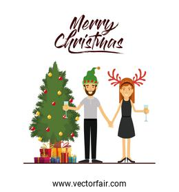 merry christmas card of couple celebrating christmas with champagne glass next to the tree with gifts and him with beard and green christmas hat and her with reindeer horns christmas hat