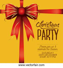 christmas party card with colorful decorative ribbon in yellow background