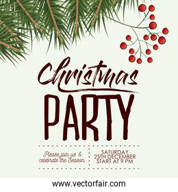 christmas party card with colorful pine branches with fruits in white background