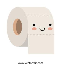 kawaii toilet paper roll in colorful silhouette