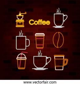 coffee drink set of neon sign on brick wall
