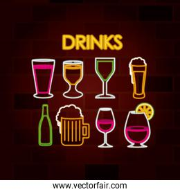 drinks set of neon sign on brick wall