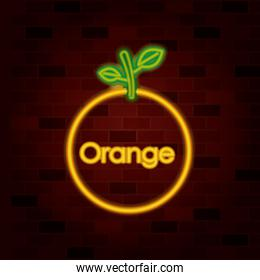 orange fruit and text in neon sign on brick wall
