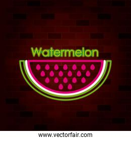 watermelon slice fruit and text on neon sign on brick wall