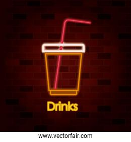 drinks on neon sign on brick wall