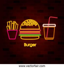 french fries burger and drink on neon sign on brick wall