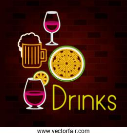 drinks text and beverage set on neon sign on brick wall