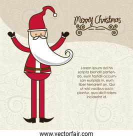 modern Santa Claus in arabesque background in pastel colors vect