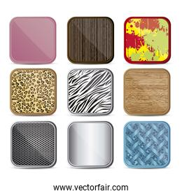 illustration of colorful icons with different textures for appli