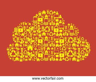 illustration of cloud composed of icons technological and social