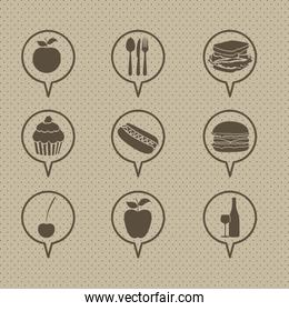 illustration of restaurant and food icons vector illustration