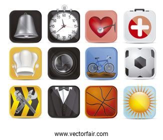 illustration of colorful applications icons with different textu