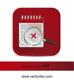 illustration of calendar application icon with calendar and magn