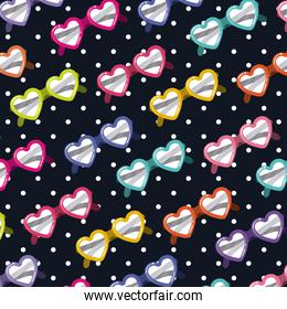 heart shaped sunglasses pattern on pop art on black background with white dots