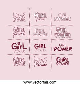 girl power stickers set and text in dark red with pink background