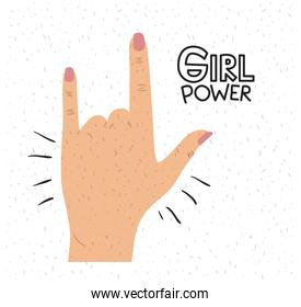 girl power poster text and hand in skin color making horn sign