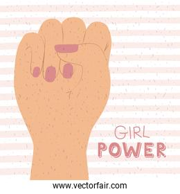 girl power poster text and hand in skin color making raised fist sign